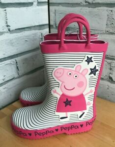 Peppa Pig 'Peppa' Wellies Pink Stripe UK Sizes 6 & 7 pull on help welly boots