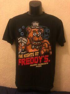 FIVE NIGHTS AT FREDDY'S Freddy Fazbear's Pizza-Mens Black T Shirt-SIZE MEDIUM