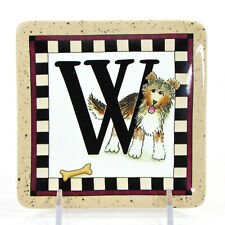 "MWW Market DOGGY WELCOME - ""W"" 4.5"" Mini Plate Woof Linda Spivey Penny Lane"