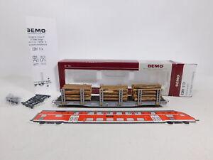CU740-0,5# Bemo H0m/DC 2281 113 Rungenwagen mit Holzladung Sp-w 8353 RhB, sg+OVP