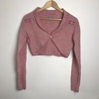 Per Una Size M Pink Silk/Lambswool Blend Knitted Shrug