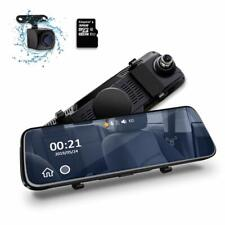 "10"" HD Dual Lens Car DVR Mirror Dash Cam Front and Rear with 32GB Memory Card UK"