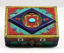 "Handmade Box with in-laid Semi-Precious Stones "" RARE "" fromTurkey (7 1/8"" Wide)"