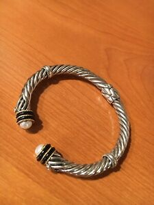 925 Sterling Silver 14k & Pearl Cable Twist Hinged Cuff Bracelet