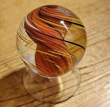 """STEVE DAVIS HANDMADE GLASS MARBLE/1.452""""-WHIRLING TORNADO APRICOT LEMON MIDNIGHT"""
