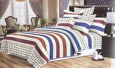 Fashion Stripes Polka Dots Blue/Brown/Cream Duvet Cover Bedding Set Pillowcases