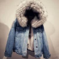 Denim Jacket Damenmode Winter Fellkragen Kunst-pelz Kargen Coat Mantel Jeans NEU