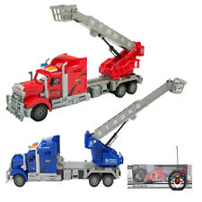 Big Rig With Crane And Basket Truck Toy Car Remote Control Kids Vehicle Model