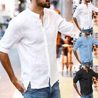 Men's Short Sleeve Linen Shirt Loose Summer Casual V-Neck Shirts Tops M-3XL Tee