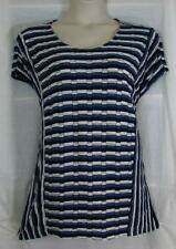 CJ BANKS Artsy Fun Crimped Look Textured Edges Navy Charcoal Off Wht Top 2X NWT