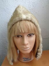 MINT BLEACHED MUSKRAT FUR HOOD HAT CAP WOMEN WOMAN CHILDREN SIZE XS