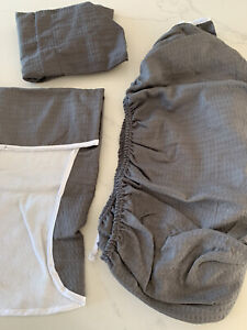 NEW Dark Grey Waffle Fabric Replacement Moses Baby Basket Bedding Dressing Set