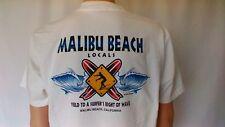 MALIBU BEACHLOCALS white L XL Surf T-Shirt 4 color print
