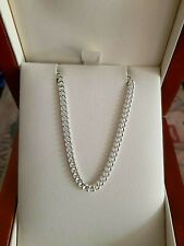 "9ct White Gold Diamond Cut Curb Chain 16"" - 24"" Full Hallmarks, made in the U.K."