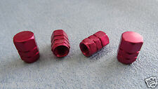 SKODA FABIA RED METAL DUST VALVE CAPS TYRE WHEEL SOLID HEXAGON COVERS