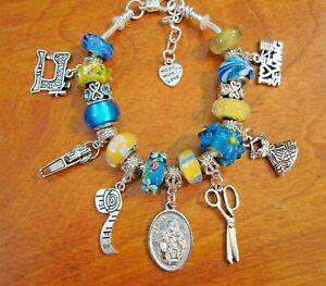 St Ann Seamstress European charm bracelet scissors sewing machine tape zipper