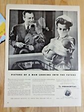 PRUDENTIAL INSURANCE Magazine Ad Print 1943 WWII Man Looking into the Future