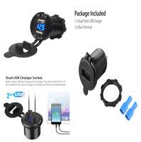 4.2A Dual USB Car Cigarette Lighter Charger Socket Digital Blue LED Voltmeter