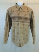 Cabela's Button Up Long Sleeve Shirt Moose Theme Mens XL Regular Brown