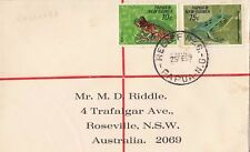 Stamps Papua New Guinea frogs 1969 plain cover RELIEF No 6 registered RABARABA