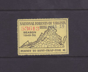 State Hunting/Fishing Revenues - VA - 1949 National Forest Stamp ($1) - Used