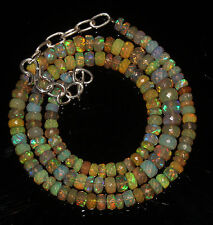 """62 Crts 4.5 to 6.5 mm 16"""" Faceted Beads necklace Ethiopian Welo Fire Opal 94601"""