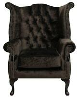 Chesterfield Armchair Queen Anne High Back Wing Chair Brown Velvet