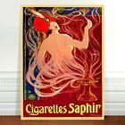 "Vintage Tobacco Advertising Poster Art ~ CANVAS PRINT 8x12"" Cigarettes Saphir"