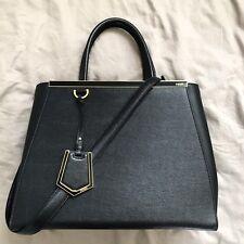 2250 FENDI 2Jours Black Medium Saffiano Leather Handbag Bag Tote Shoulder  Strap 584bcae2ffea7