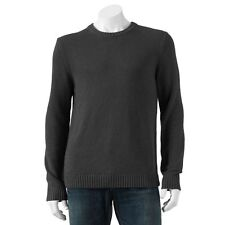NEW $45 Croft Barrow Crew neck SWEATER Charcoal  Cotton Blend MENS XL NWT