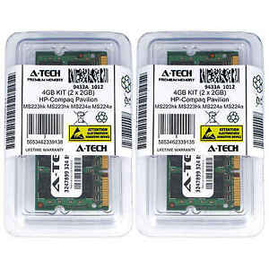 4GB KIT 2 x 2GB HP Compaq Pavilion MS223hk MS224a MS224in MS225 Ram Memory