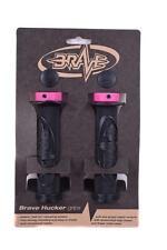 BRAVE 'HUCKER' HANDLEBAR GRIPS LOCK-ON 22.2mm BLACK WITH PINK LOCK RINGS 65% OFF