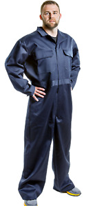 Men's Navy Zip Front Coveralls Industrial Work Uniform Conqueror Long Sleeve