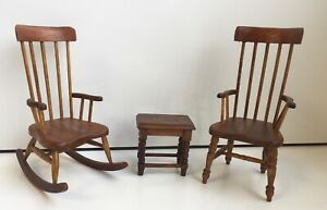 2 MASTERS MINIATURES ARTISAN WOODEN KITCHEN CHAIRS ROCKING DOLLS HOUSE DOLLHOUSE