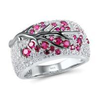 Beauty 925 Silver Ruby White Topaz Women Plum Branch Ring Party Jewelry Gift Sz8