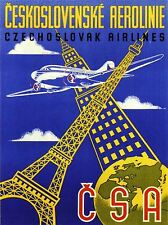 ART PRINT POSTER TRAVEL CZECHOSLOVAKIA AIRLINE EIFFEL TOWER AEROPLANE NOFL1311