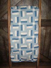 "Vintage Handmade 49.5"" x 47"" Blue&White Patchwork Quilt~Lap/Throw/Toddler/Crib"