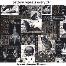 "MICHAEL MILLER ""NEVERMORE COLLAGE"" Edgar Allen Poe- Like Fabric by the Yard"