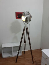 Vintage Theater Tripod  Spotlight Designer Floor Lamp -Wooden Tripod Home
