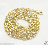 4mm Solid Mens Cable Link Chain Necklace Real 14K Yellow Gold