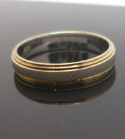 Gold plated silver band with frosted silver centre section /& 925 stamp