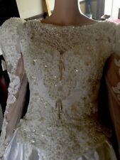 Vtg 80's Wedding Dress Lace And Perls,long Sleeves Long Train, White Sz M or S
