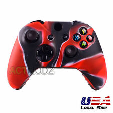 Silicone Gel Rubber Protective Case Cover for Xbox One Controller Black Red Camo