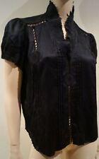 MARC JACOBS Black 100% Silk High Pleat Neckline Short Sleeve Blouse Top US8 UK12