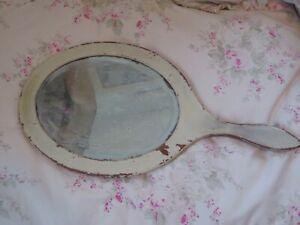 Shabby Cottage Chippy White Paint Hand Vanity Beveled Mirror Victorian