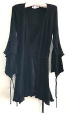 AUGUSTE Luella Poet Bell Sleeve Black Lurex Wrap Mini Dress Boho 6 8 XS