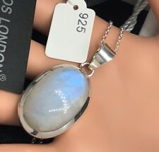 925 Sterling Silver Elegant Moonstone Oval Gemstone Necklace Pendant Gift Boxed