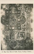 DUBLIN – A Page from Book of Kells Trinity College Real Photo Postcard - Ireland