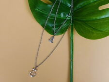 Double-layer necklace with boat & anchor pendants (A03)