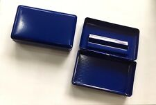 Tobacco Tin With Paper Holder Blue Metal Matt Finish